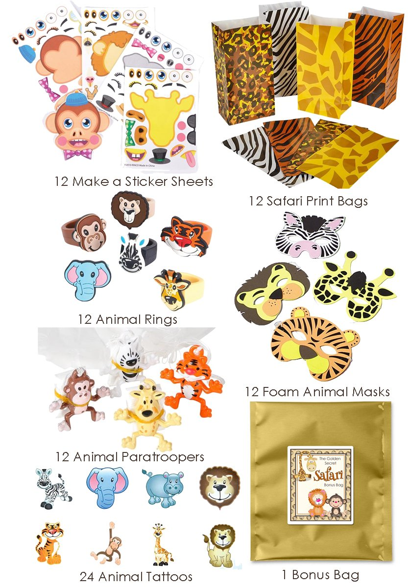 84 Piece Zoo Animal Safari Theme Birthday Party Favor Bundle Pack for 12 Guests (12 Masks, 12 Safari Print Bags, 12 Rubber Rings, 24 Tattoos, 12 Make a Sticker Sets, 12 Paratroopers)