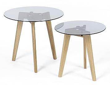 Ts Ideen 2er Set Design Glastische Beistelltische Rund Holz Eiche