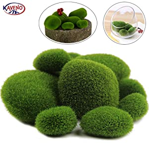 KAVENO Green Artificial Moss Balls Decorative Stones, Varying Sizes, Ideal for Vases, Table Decor, Planter Decor, Weddings, Parties, Special Events (20 Pieces)