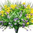 CEWOR 9pcs Artificial Flowers Outdoor UV Resistant Shrubs Plants for Hanging Planter Home Wedding Porch Window Decor(Yellow,