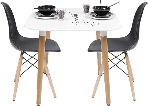 Blanco Conjunto de Cocina-Comedor de dise/ño n/órdico-Scandi NORDIK-80 con Mesa lacada Blanca y 2 sillas Tower Homely