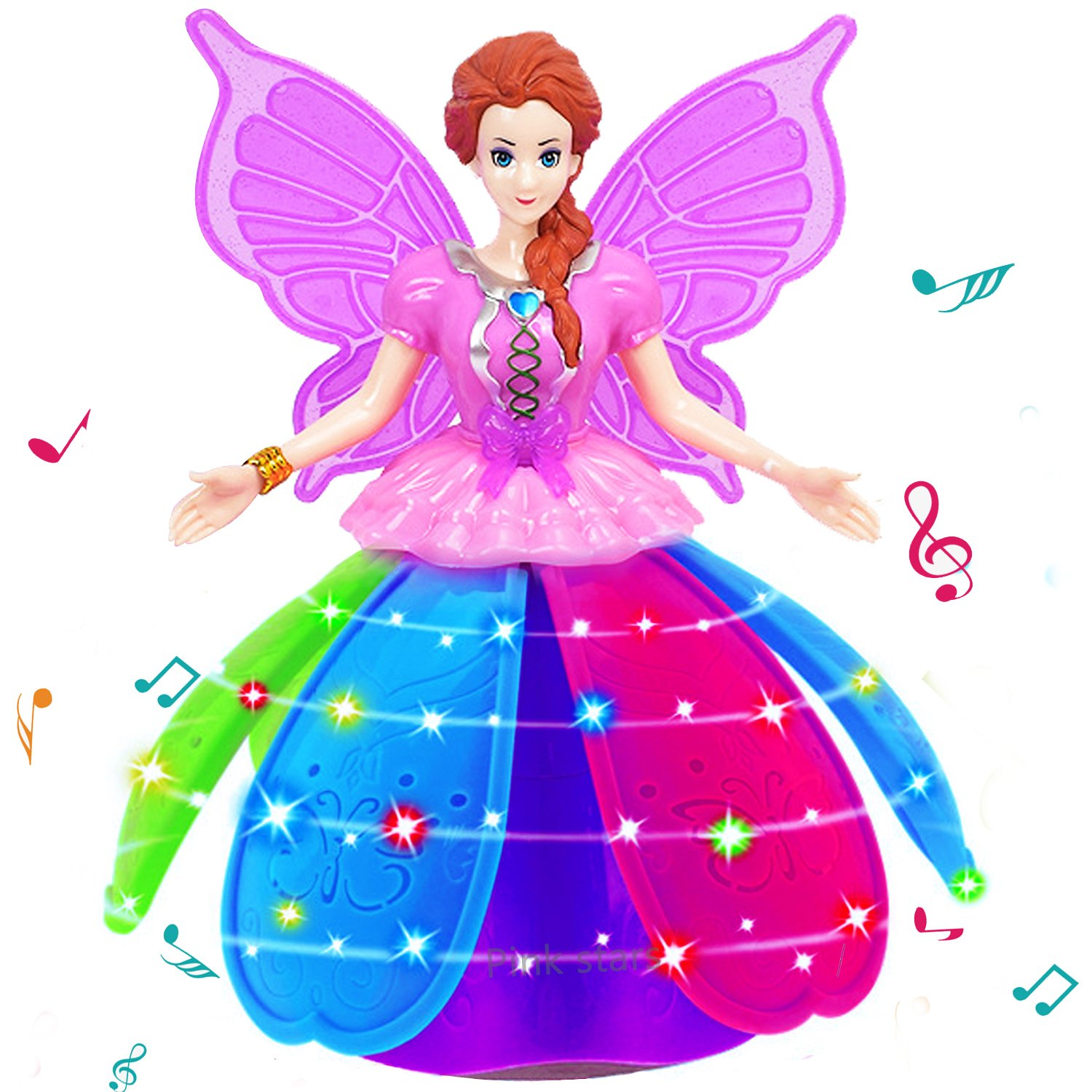 5 Year Old Girl Princess Doll Toy Rotating Dancing Robot Toys Music Led Light Lnteractive Toys Colorful Projection Lamp Petal Skirt