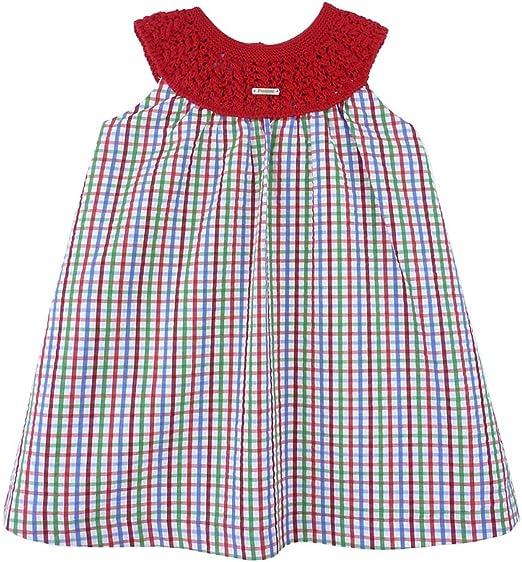 Foque - Vestido para niña de Cuadros Verdes, Rojos y Azules con Cuello de Punto Rojo. Hecho en España (2 años): Amazon.es: Ropa y accesorios