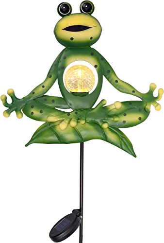 TERESA S COLLECTIONS 35 inch Sitting Yoga Frog Garden Decor,Frog Garden Solar Lights Stakes with Crackle Glass Ball for Outdoor Patio Yard Decorations