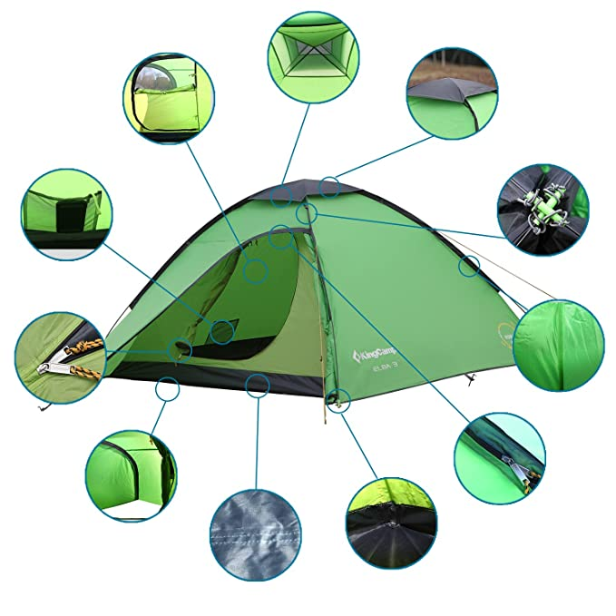 Parties Festivals Outdoor Home Use Included Carry Bag KingCamp Modena Camping Tent 2 Person Lightweight Pop-Up Waterproof Dome Tent Mesh Windows Fishing Trips 2 Person Tent