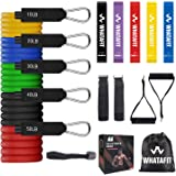 Whatafit Resistance Bands Set (16pcs), Exercise Bands with Door Anchor, Handles,Waterproof Carry Bag, Legs Ankle Straps…