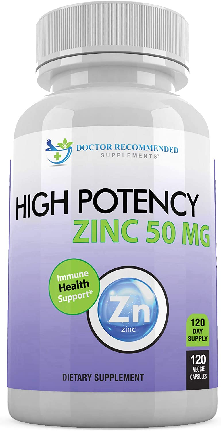 Zinc 50mg - Zinc Picolinate Immune Health Support Supplement 120 Veggie Capsules for Adults and Kids Vitamin, Well-Absorbed High Potency Pure Zinc Supplements - 50mg Per Serving: Health & Personal Care