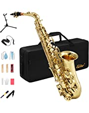 Eastar AS-Ⅱ Student Alto Saxophone E Flat Gold Lacquer Alto Sax Full Kit With Carrying Case Mouthpiece Straps Reeds Stand Cork Grease