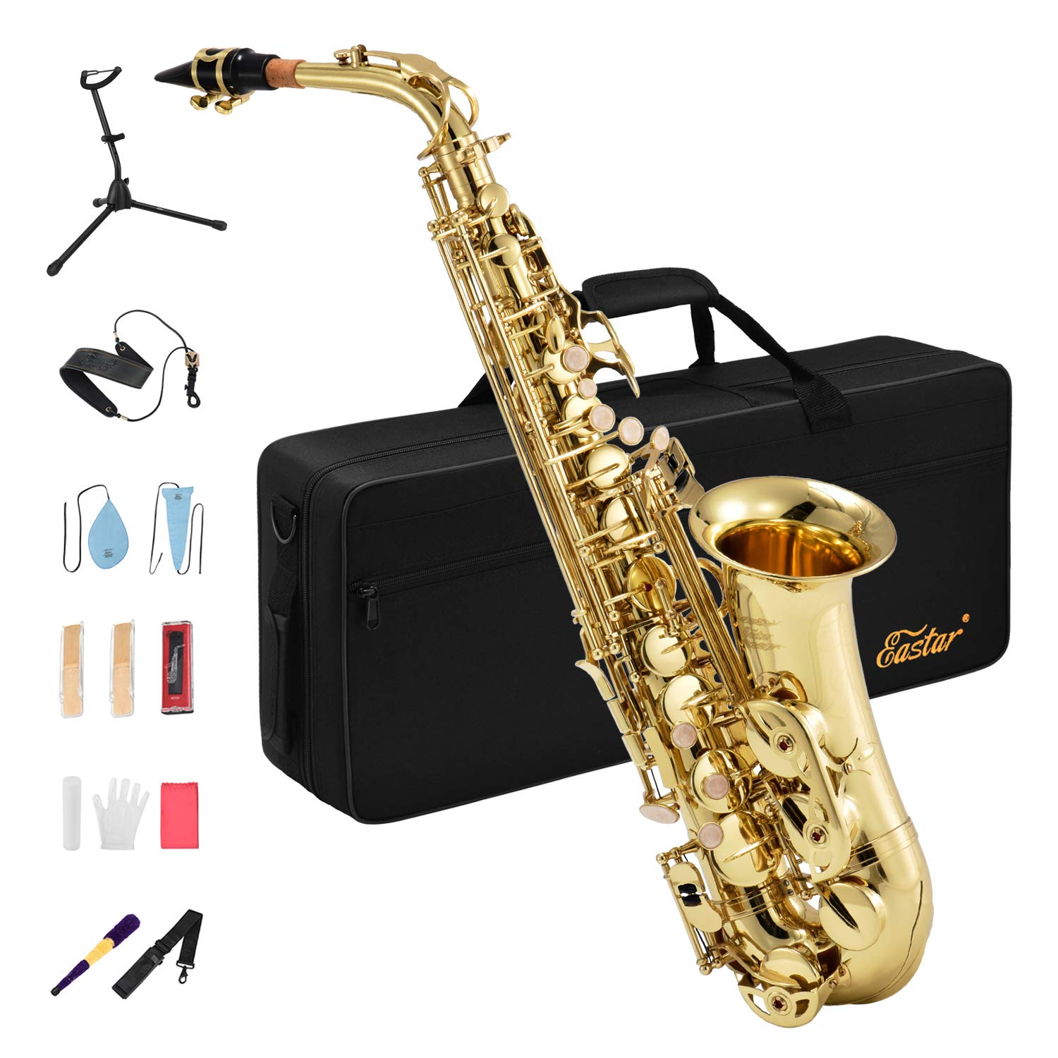Eastar AS-Ⅱ Student Alto Saxophone E Flat Gold Lacquer Alto Sax Full Kit With Carrying Sax Case Mouthpiece Straps Reeds Stand Cork Grease by Eastar