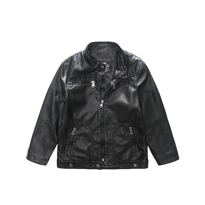 090deca3b5f2 Amazon.com  LJYH Boy s Trendy Stand-Collar Faux Leather Spring ...