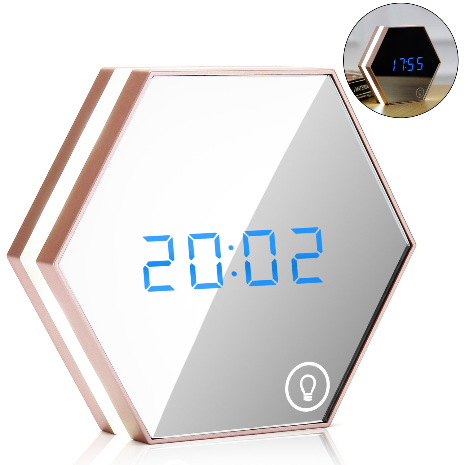 EnGive Multi-function Mirror Alarm Clock Rechargeable Portable Smart Led Digital with Time/Alarm/Temperature Display Desk or Room Decoration Travel Alarm Clock (Rose Gold) by ENGIVE