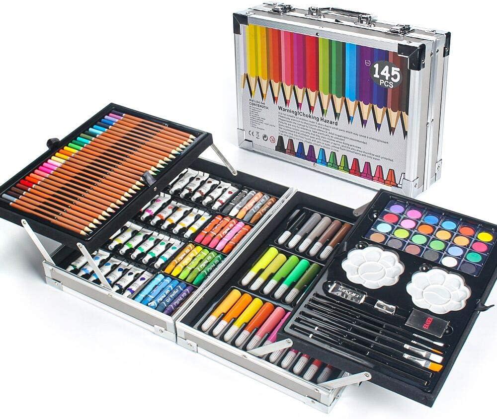 MIAOKE 145 Set de Pintura Niños, Caja de Aluminio Deluxe y Kit de Dibujo con Lápices de Colores, Marcadores, Pinturas de Acuarela, Crayones, Lápices HB, Pastel de Acuarela, Pincel, Bloc de Dibujo
