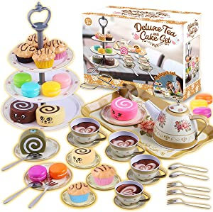 Cheffun Tea Set for Little Girls - Party Pretend Play Kitchen Set with Sweet Princess Accessories Plastic Tea Cups Dishes Play Food Macaroons Cake Set Stands Play Set for Toddlers Kids Ages 3 4 5 6 7+