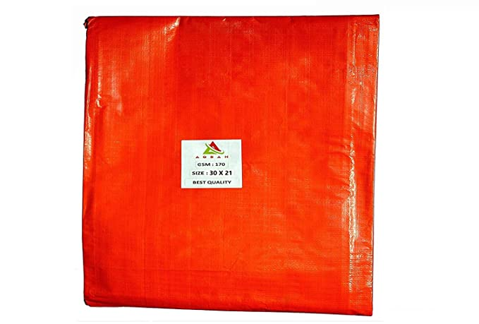 AQBAH Tarpaulin Sheets, Tarpaulin 100% Pure Virgin UV Treated 170 GSM Orange Blue (30 ft x 21 ft)