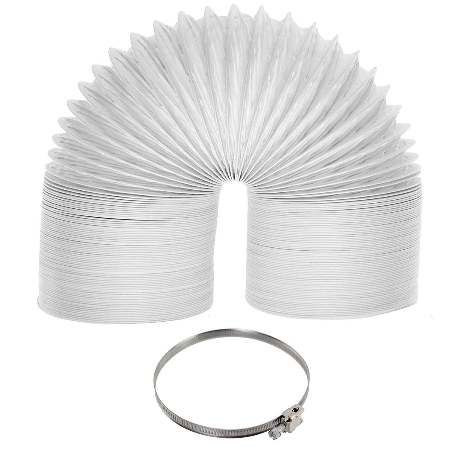 Spares2go Universal Tumble Dryer Extra Long Vent Hose & Jubilee Clip Kit (6 Metre, 100mm Diameter)