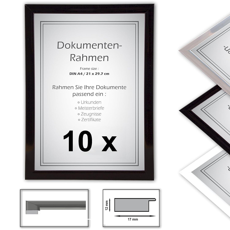10 x Urkundenrahmen, Din A4, 21x29,7 Fotorahmen, Bilderrahmen A4 ...