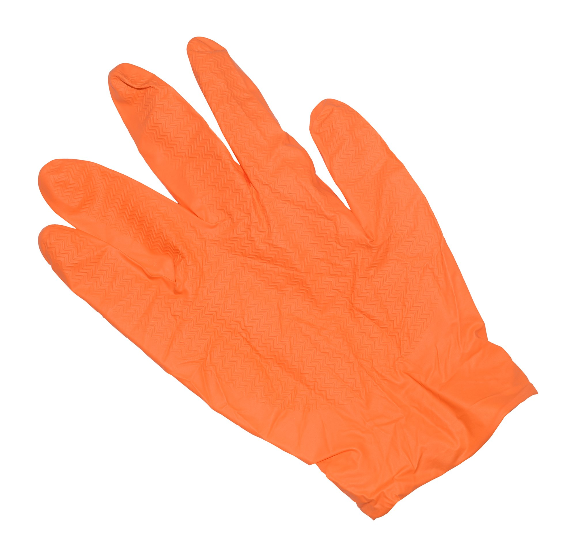 Emerald 04001 Orange MAX-Grip Powder Free Nitrile Glove 7 Mil Disposable with Beaded Cuff. 50 Glovesper Box, 10 Boxes, Total 500 Gloves Size X-Large, by Emerald