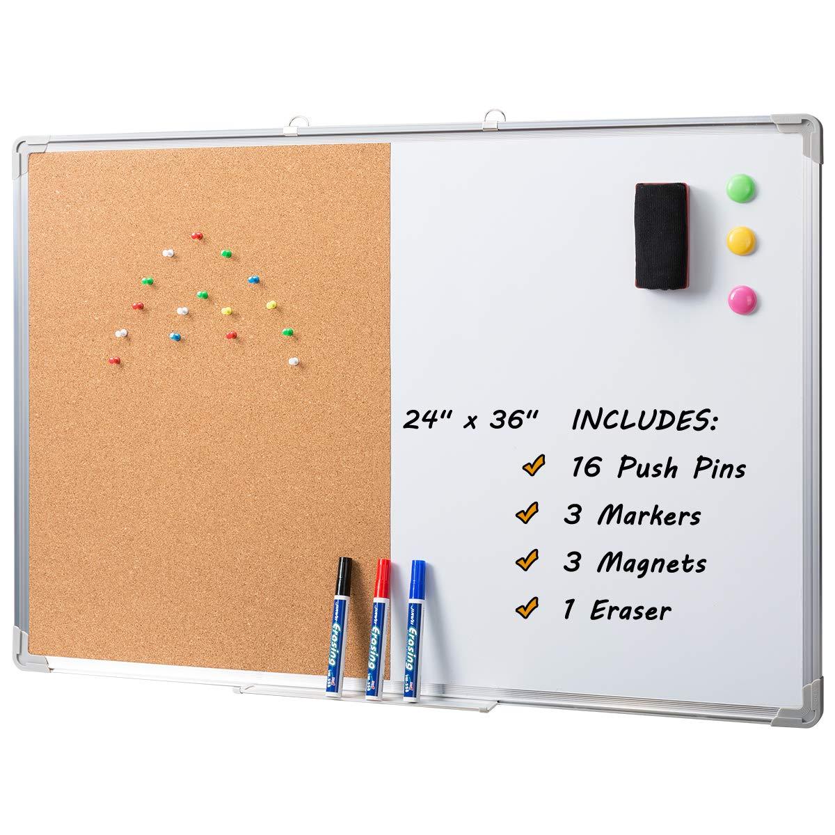 Marble Field 36 x 24 Magnetic Whiteboard & Cork Board Combo Board Set, Wall Mounted Notice Bulletin Board Dry Erase/Cork Board Combination with Aluminum Frame