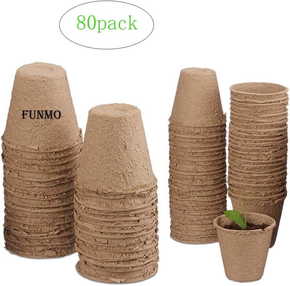 Funmo Macetas biodegradables - 80 macetas de plantación de Fibra para Plantas de semillero, enfermería, Plantas de Suministro