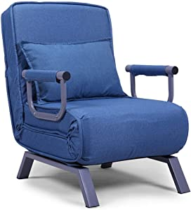 JAXPETY Sofa Bed Folding Arm Chair Convertible Sleeper Chair, Leisure Recliner Lounge Couch with Pillow and 5 Position Adjustable Backrest for Home Office, Blue