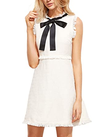 PERSUN Womens Elegant White Tweed Bow Tie Sleeveless Casual Formal Party Dress, X - Large