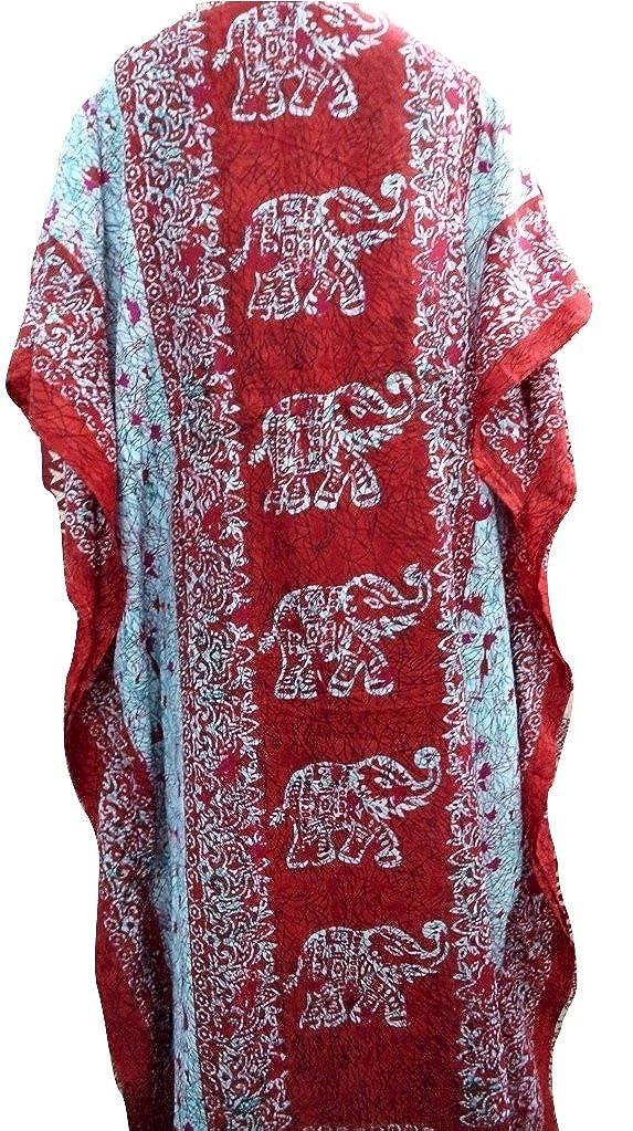 V-Neck Kimono Long Caftan Dress RiSi Womens Elephant Print Kaftan
