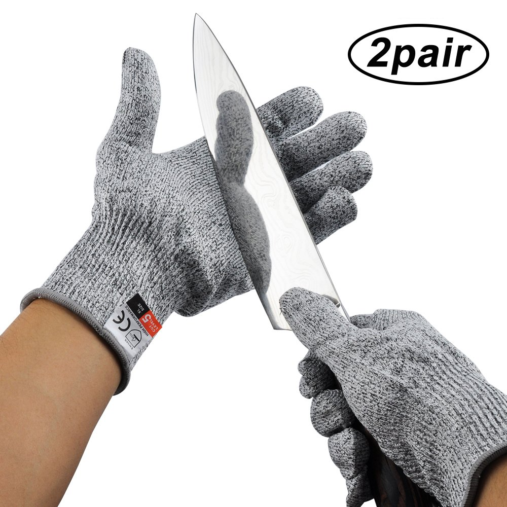 Cut Resistant Gloves By ANRUI - Level 5 Protection, EN388 Certified Safety Cutting Gloves For Hand Protection, Kitchen, Outdoor Yard Work (2 Pair)