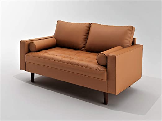 Container Furniture Direct Orion Mid Century Modern PU Leather Upholstered  Living Room Loveseat with Bolster Pillows, 50.39\