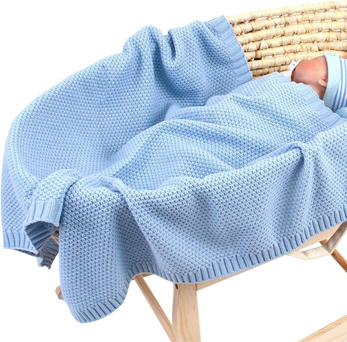 Manta de Punto para bebé para niños y niñas de 40 x 30 Pulgadas, Manta de Ganchillo de Punto para recién Nacido, Manta para Cochecito Azul Azul