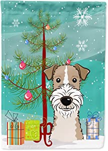Caroline's Treasures BB1619GF Christmas Tree and Wire Haired Fox Terrier Flag Garden Size, Small, Multicolor