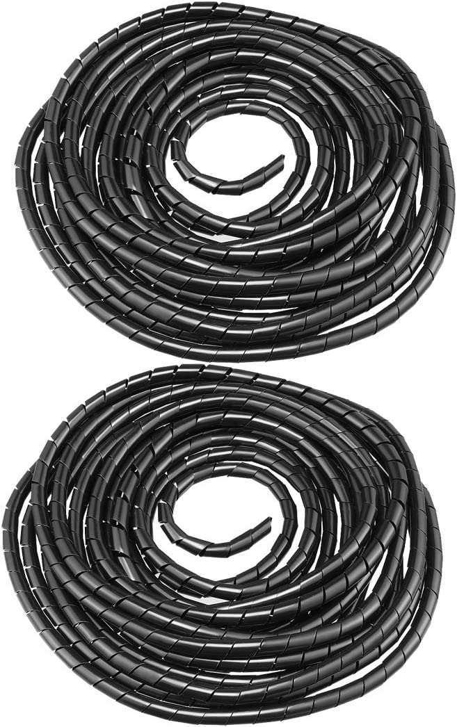 uxcell 2pcs Spiral Wire Wrap Cable Wrap Cord 3//8-inch x 8m Black PE Polyethylene Tubing for Computer Cable