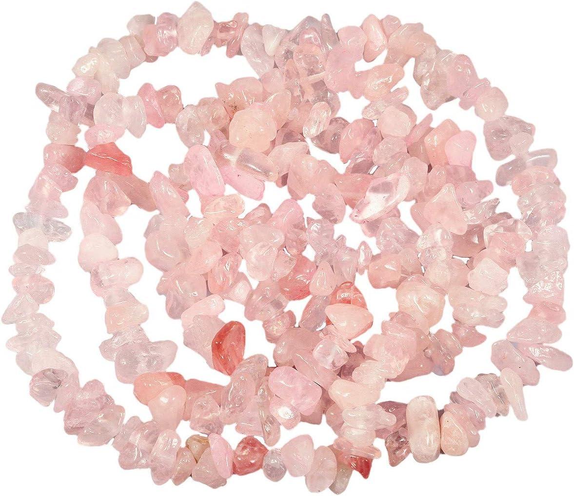 mookaitedecor - Perlas de Piedra Granel, pequeñas, Piedras pulidas irregularmente para Bricolaje, Collar curación y fabricación de Joyas, Cuarzo Rosa, Rosa