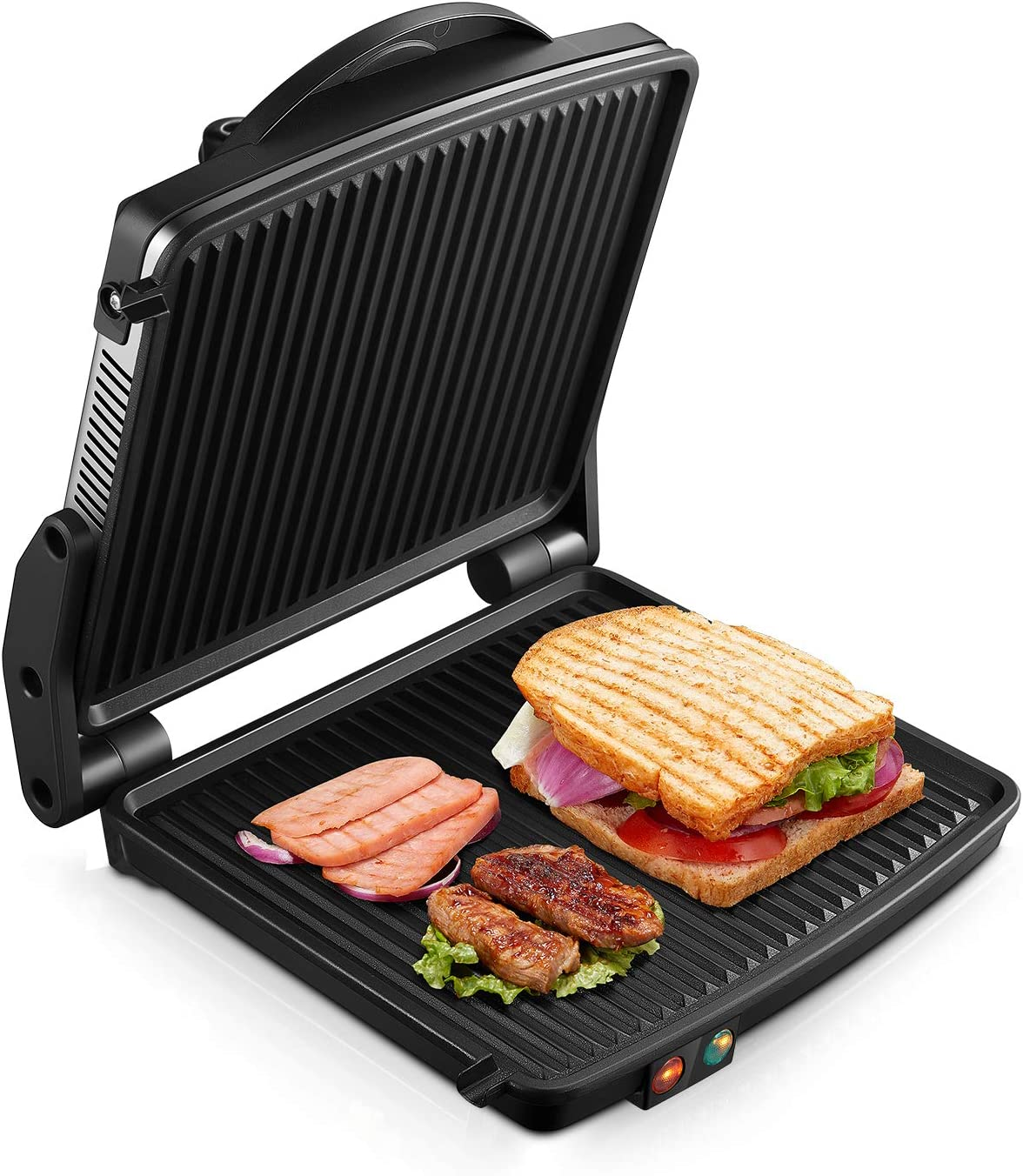 Kealive Panini Press Grill, 4-Slice Extra Large Gourmet Sandwich Maker Grill, Non-Stick Coated Plates, Opens 180 Degrees to Fit Any Type or Size of Food, Stainless Steel Surface and Drip Tray, 1200W