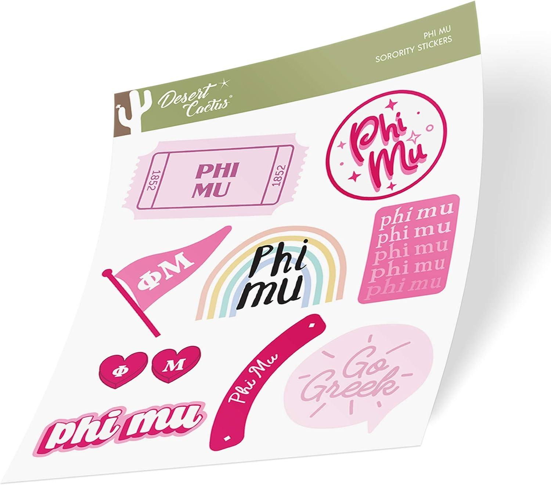 Phi Mu Sticker Decal Laptop Water Bottle Car (Cute Sheet)