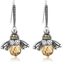 Dancing Bee Earrings Exquisite Ear Studs Sterling Silver Queen Bee Dangle Earrings Personality Animal Crystal Earrings…