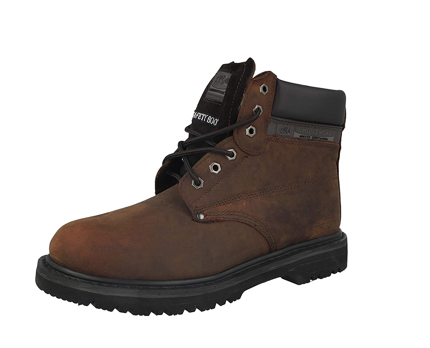 New Mens Groundwork Lace Up Steel Toe Safety Ankle Boots Size UK 7 8 9 10 11,