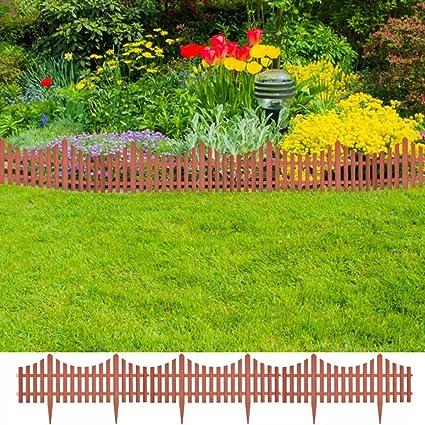 Merveilleux Daonanba Decorative Lawn Divider Wooden Fence Barrier Garden Fence Guard 17  Pcs 32.8 Ft Brown