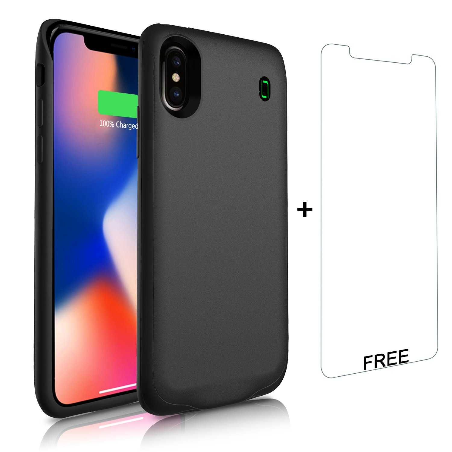 iPhone X Battery Case, LoHi Lightning Connector Audio Support Charger 4000mAh Rechargeable Soft TPU Fingerprint Resistant Ultra Slim Extended Charging Backup 5.8\