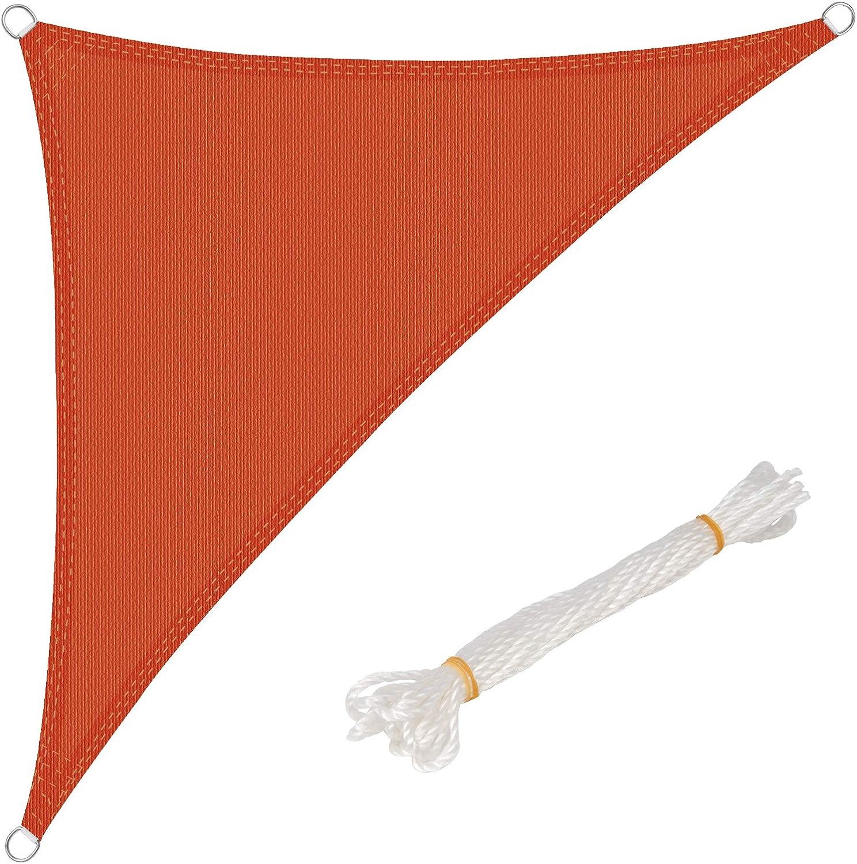 WOLTU Toldo Vela de Sombra Triángulo Prevención Rayos UV Solar protección Piel Resistente y Transpirable para Jardín,Patio, Exteriores Terracota 2.5x2.5x3.5m, GZS1188tk21