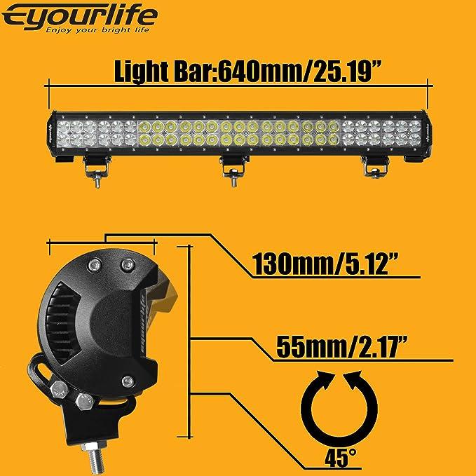 25 162W Eyourlife 3,8 18W 2 Pezzi Spot Faro da Lavoro luce di Profondit/à