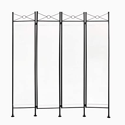 Todeco - Biombo, Divisor de Habitaciones - Panel: 100% Poliéster - Número de paneles: 4 - 180 x 160 cm, Blanco: Amazon.es: Hogar