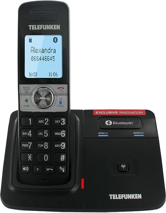Telefunken TX 101 Touch - Teléfono fijo inalámbrico DECT/GAP (contestador, manos libres y Bluetooth), color negro (importado): Amazon.es: Electrónica