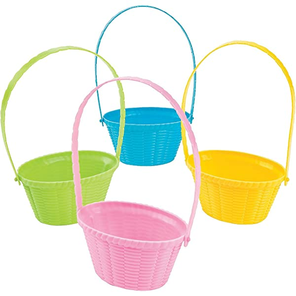HansGo Plastic Easter Basket 6 PCS Small Easter Egg Baskets set with Easter Grass 50g for Kids Easter Eggs Hunts and Gifts