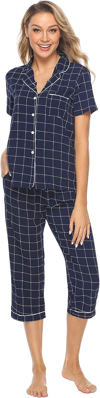 iClosam Pyjama Femme Ete Ensemble de Pyjama Carreaux en Coton Doux et Confortable Manches 3//4 V/êtements dInt/érieur Femme