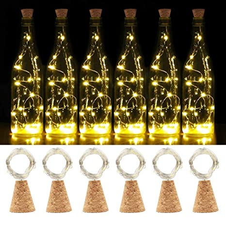 SHINYMOD Lote de 6 luces LED de corcho natural para botellas de vino, 2 horas de tiempo, 20 ledes, funciona con pilas, para botellas, decoración, ...