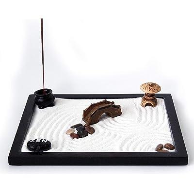 Joice Gift Desktop Japanese Zen Garden with Rake Stone Burner Stones Decor: Home & Kitchen