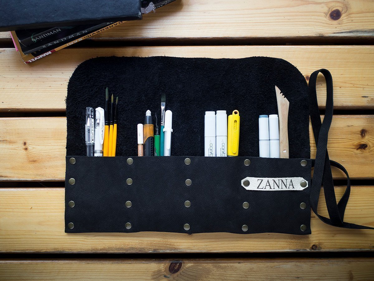 Personalized Leather Pencil Case Roll, Pen Case, Tool Roll, Art Wrap,
