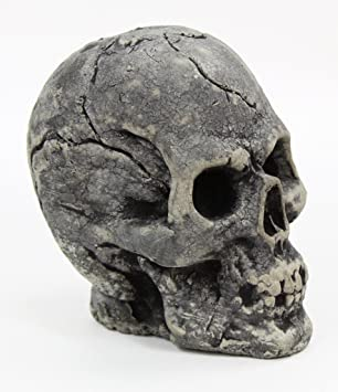 Skull Head Concrete Garden Statue Cement Skeleton Head Halloween Skull  Sculpture