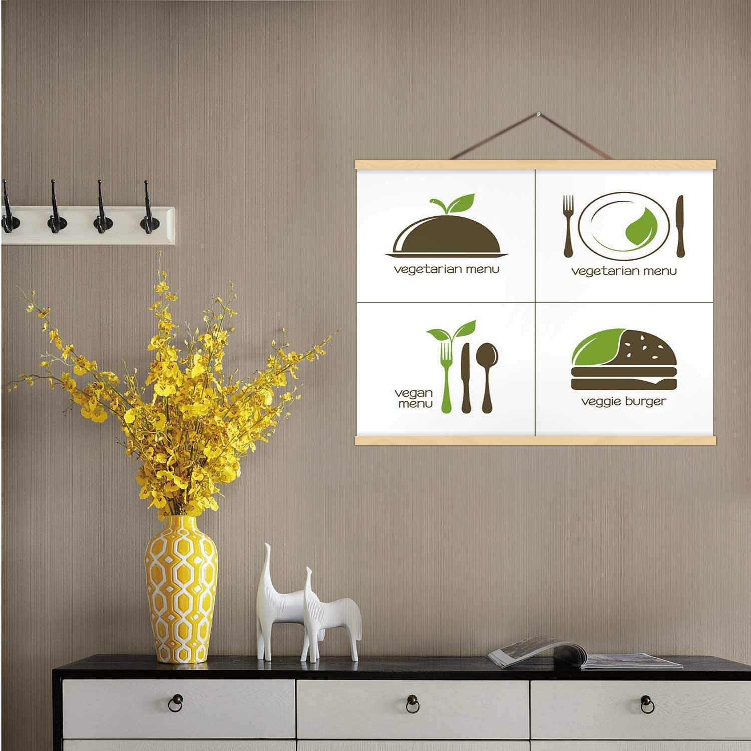Hitecera Vegetarian Food Icons - Illustration Ukraine,Wall Art Posters Vegetarian Food for Living Room 16''W x 12''H