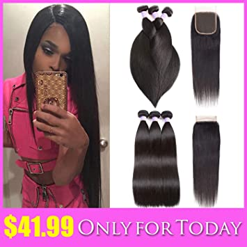 Human Hair Weaves Today Only Brazilian Straight Hair 3 Bundles With Closure Brazilian Hair Weave Bundles Remy Human Hair Bundles With Closure